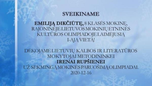 SVEIKINAME Emiliją Dikčiūtę I v.